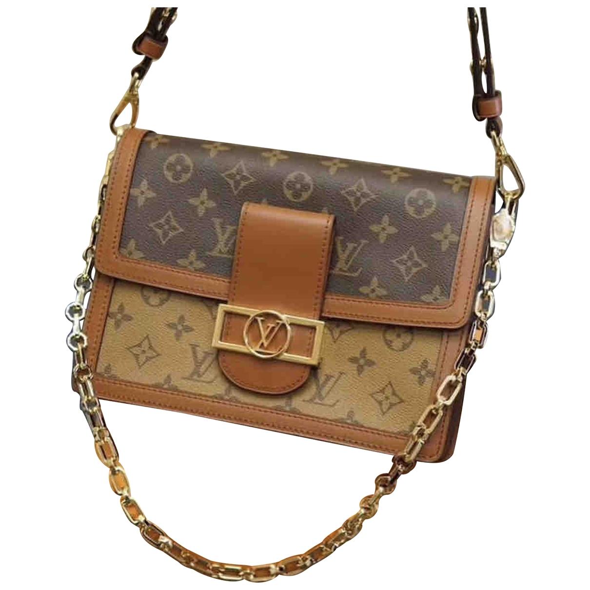 Louis Vuitton Dauphine MM Handtasche in  Braun Leder
