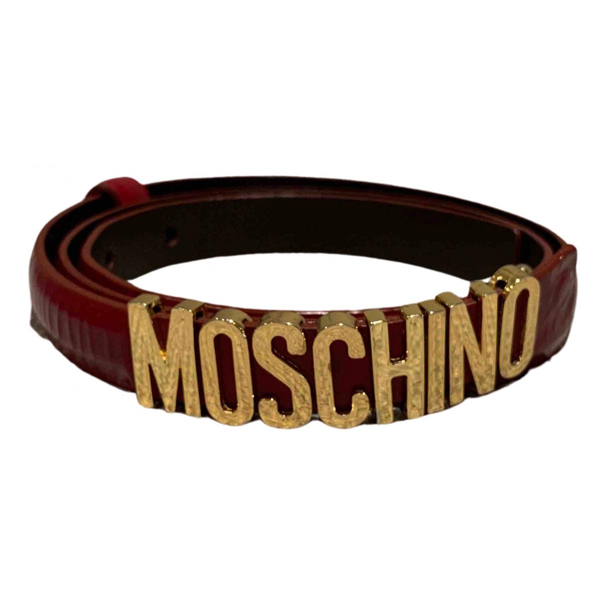 Moschino \N Guertel in  Rot Leder