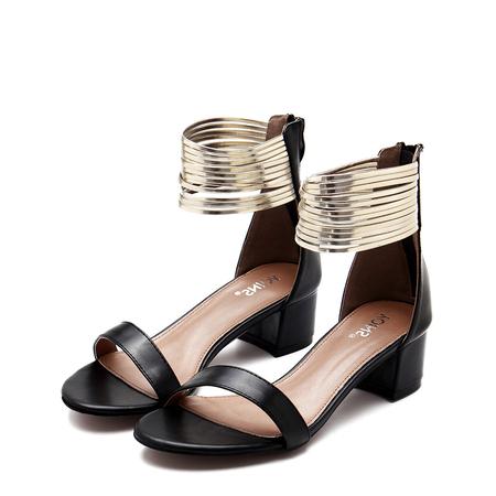 Yoins Black Leather Look Zip Closure Block Heel Sandals With Gold Circles