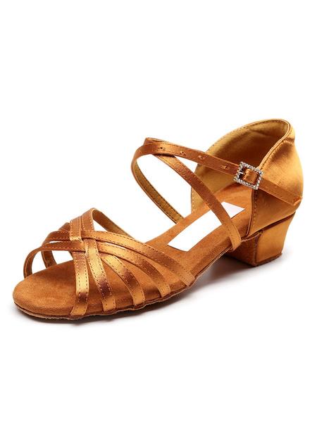 Milanoo Zapatos de baile latino para niños Sandalias de baile de salon de tacon grueso y bajo para niñas