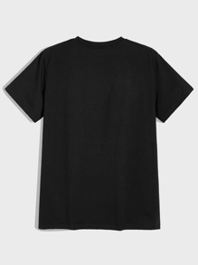 T-Shirt mit Buchstaben & Figur Grafik