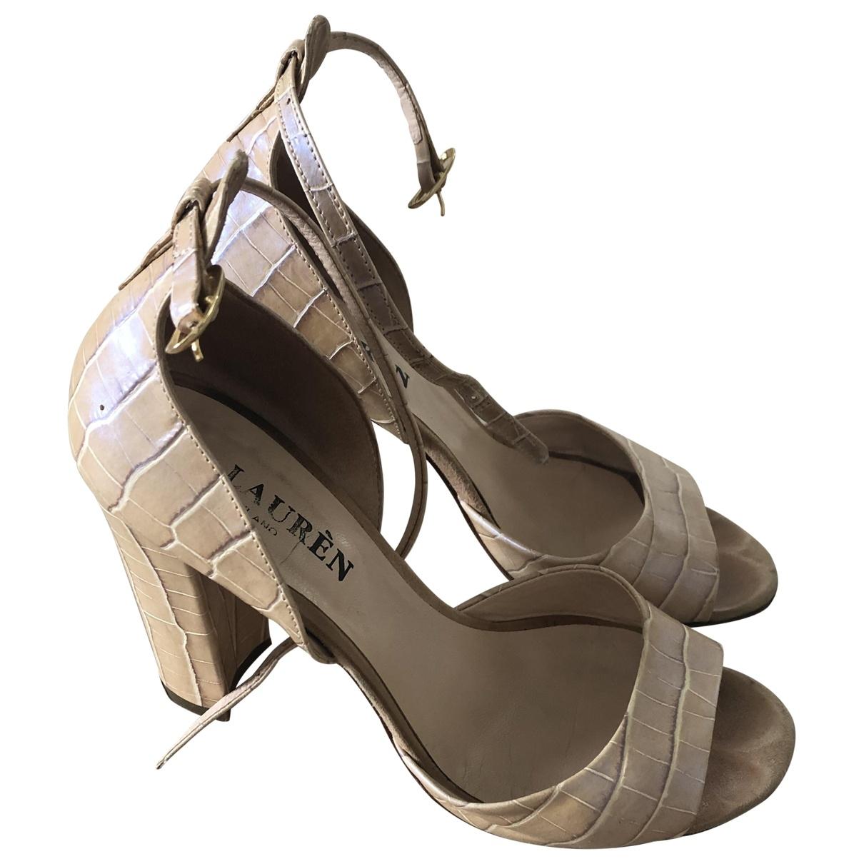 - Sandales   pour femme en cuir - beige