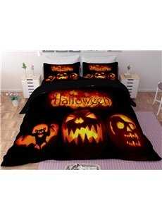 Orange Pumpkin Lantern Halloween 3-Piece 3D Bedding Sets/Duvet Covers