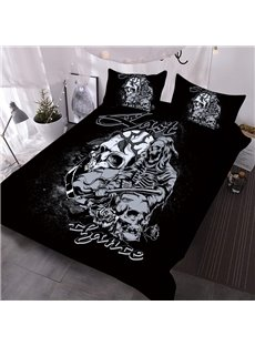 3D Skull Comforter Punk Style Printed 3-Piece Soft Comforter Sets