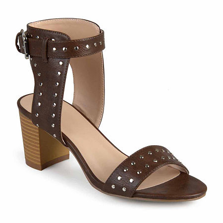 Journee Collection Womens Mabel Pumps Stacked Heel, 9 Medium, Brown