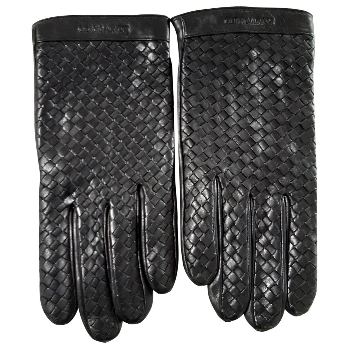 Giorgio Armani \N Black Leather Gloves for Men XL International