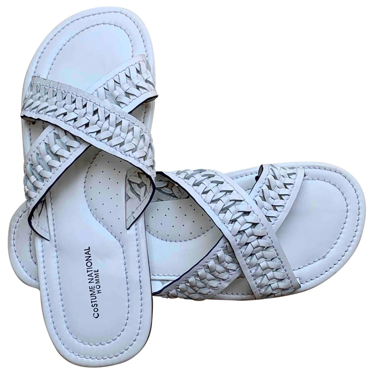 Costume National - Sandales   pour homme en cuir - blanc