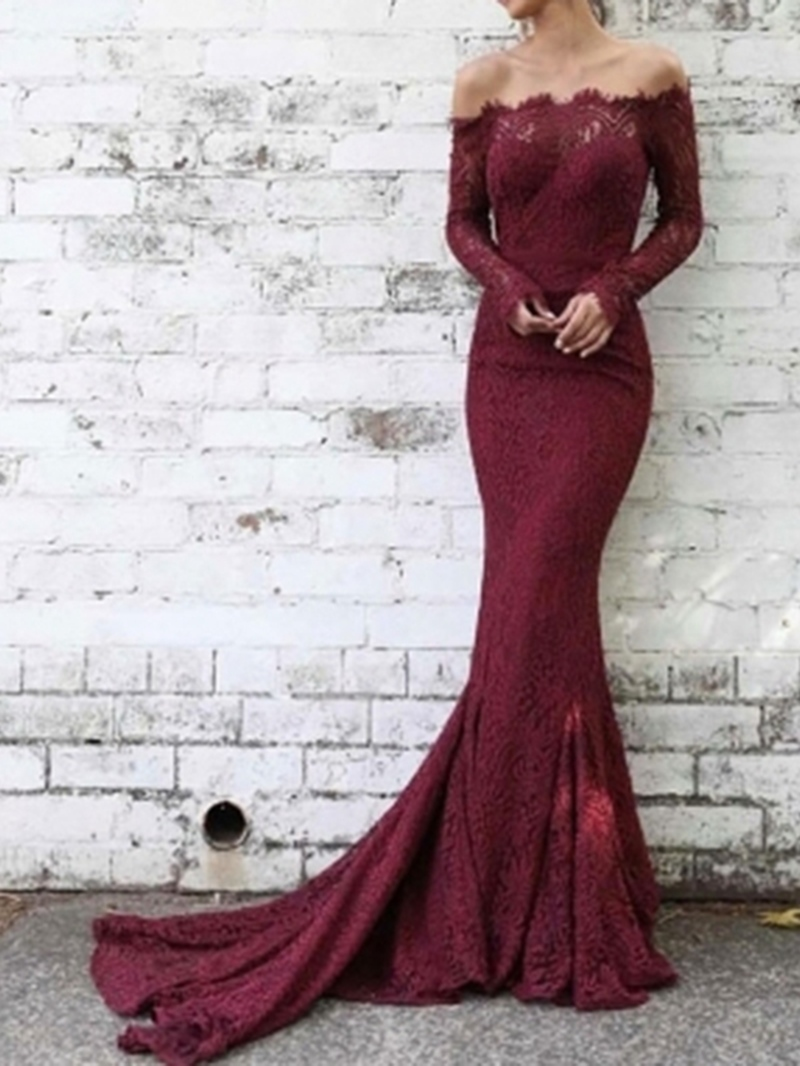 Ericdress Off-The-Shoulder Long Sleeves Lace Evening Dress