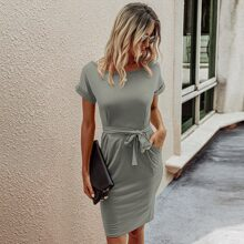 Solid Slant Pocket Belted Fitted Dress