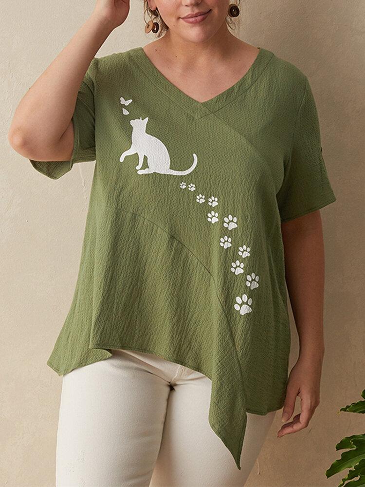 Cartoon Cat Print Irregular V-neck Plus Size T-shirt