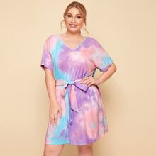Plus Batwing Sleeve Self Belted Tie Dye Dress