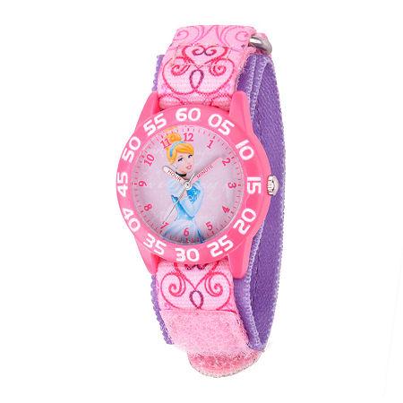 Disney Cinderella Kids Time Teacher Pink Nylon Fast Strap Watch, One Size , No Color Family