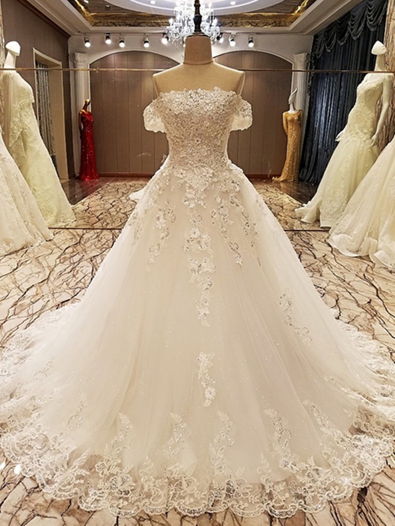 Ericdress Appliques Beading Off The Shoulder Ball Gown Wedding Dress
