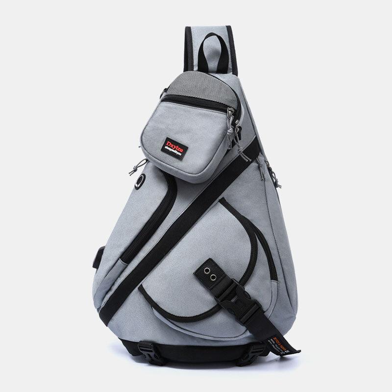 Men 2PCS USB Charging Earphone Large Capacity Multifunction Waterproof Crossbody Bag Chest Bag Sling Bag