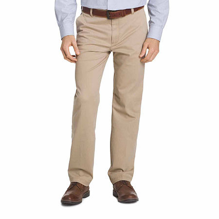 IZOD Big & Tall Sportflex Waistband Stretch Flat Front Chino Pant, 50 30, Beige