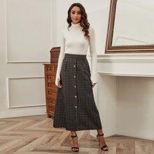 Grid Print Button Up Skirt
