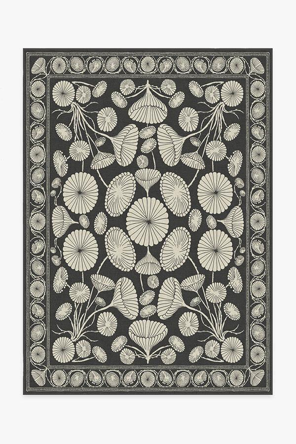 Washable Rug Cover | Cynthia Rowley Suzani Black Rug | Stain-Resistant | Ruggable | 5'x7'