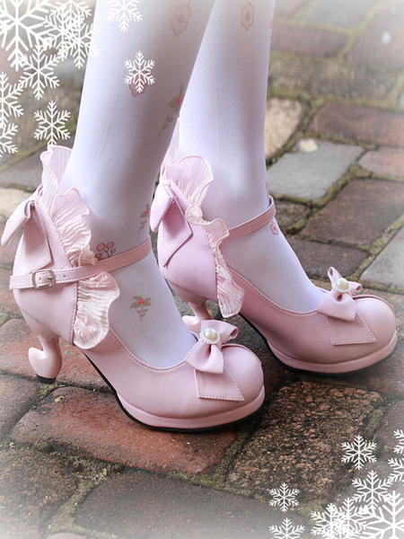 Milanoo Classic Lolita Pumps Bow Strappy Ruffle PU Deep Blue Lolita Footwear
