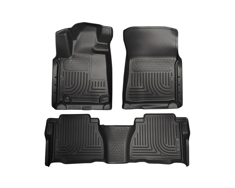 Husky Floor Liners Front & 2nd Row 10-11 Tundra Dbl/CrewMax Models (Footwell Coverage) WeatherBeater-Black