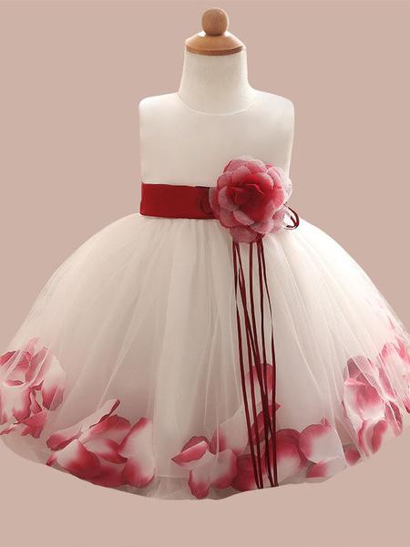 Milanoo Vestidos de niña de flores Flores Sin mangas Joya Cuello Vestidos de fiesta sociales para niños