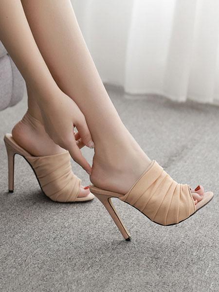 Milanoo High Heel Mules Women Black Open Toe Ruched Stiletto Heel Backless Mule Shoes