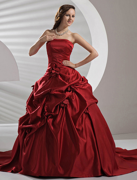 Milanoo Burgundy Satin Pick-up Wedding Dress