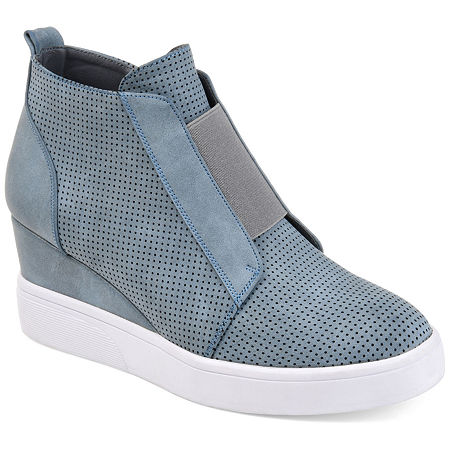 Journee Collection Womens Clara Wedge Sneaker, 9 1/2 Medium, Blue