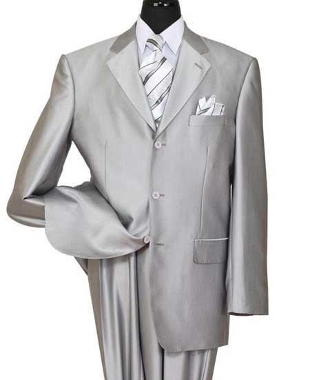 Mens Silver Notch Lapel Shiny Sharkskin 3 Button Side Vent Suit