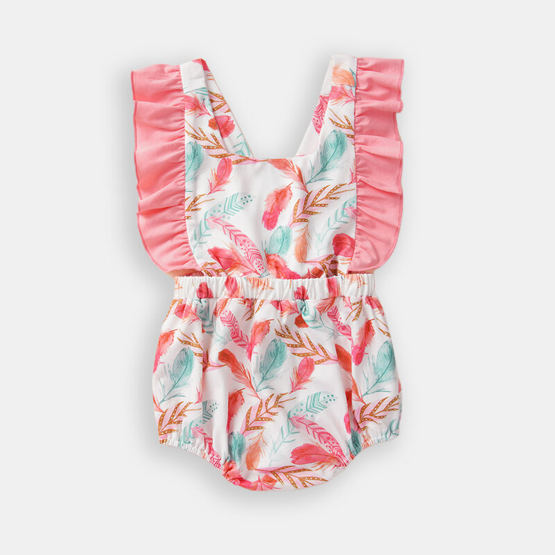 Baby Pink Flower Flying Sleeves Casual Rompers For 0-24M