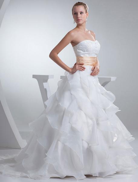 Milanoo Strapless Wedding Dress A-Line Satin Beading Sash Pleated Organza Ruffles Chaple Train Bridal Dress