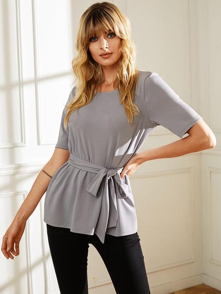 YOINS Grey Self-tie Design Round Neck Design Short Sleeves Tee