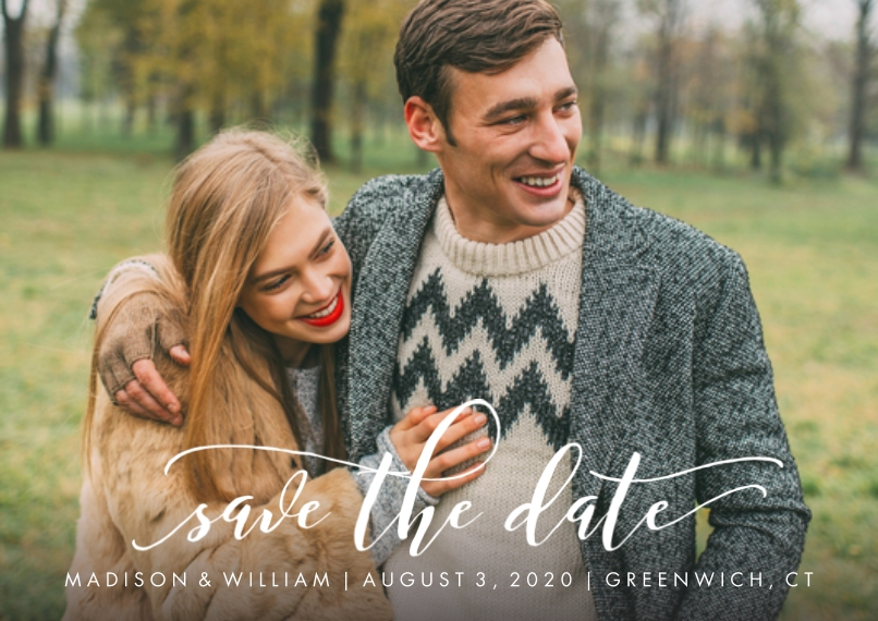 Save the Date 5x7 Cards, Premium Cardstock 120lb with Rounded Corners, Card & Stationery -Save the Date Swirled
