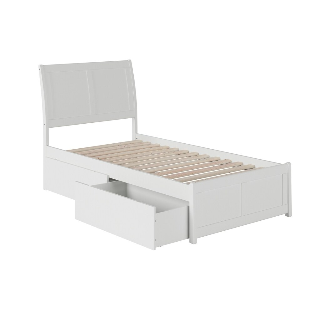 Portland Twin Platform Bed with Matching Foot Board with 2 Urban Bed Drawers in White (Twin - White)