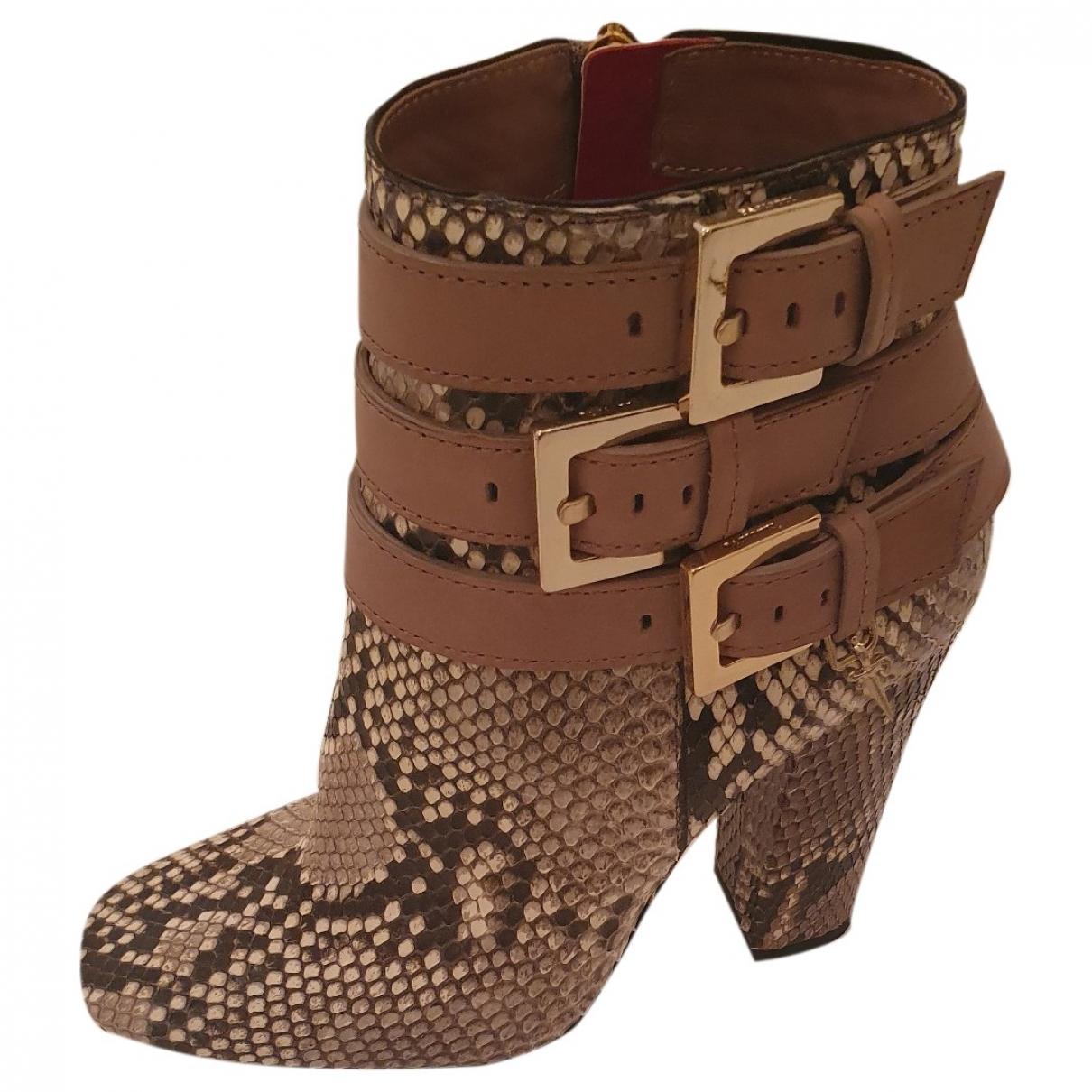 Cesare Paciotti \N Python Ankle boots for Women 37 EU