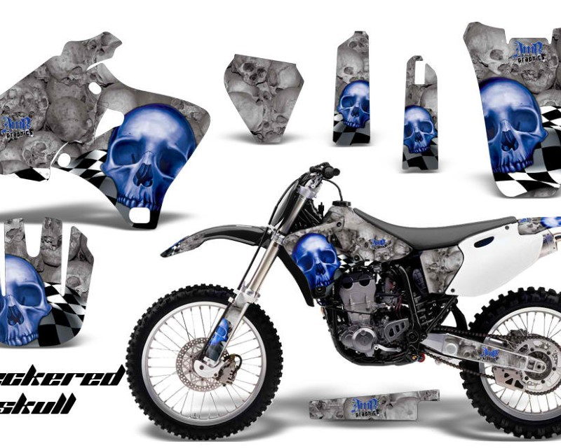 AMR Racing Dirt Bike Graphics Kit Decal Wrap For Yamaha YZ 250F/400F/426F 1998-2002áCHECKERED BLUE SILVER