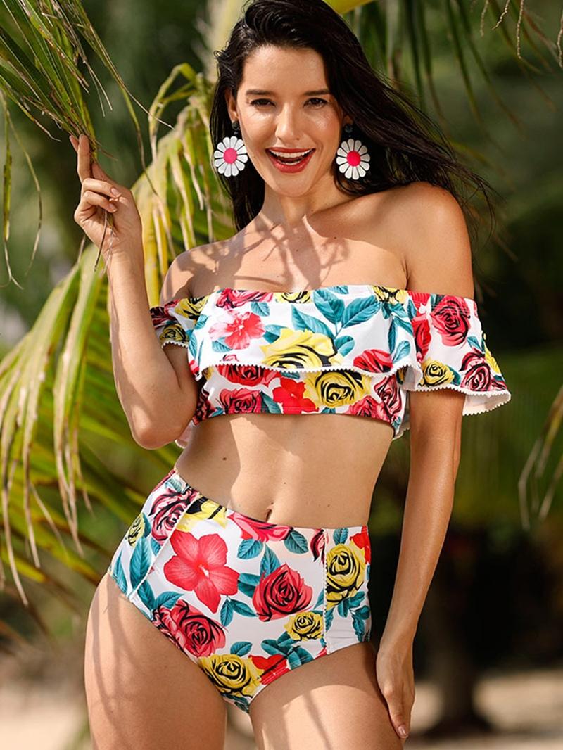 Ericdress Off The Shoulder High Waist Falbala Rose Print Bikini Set
