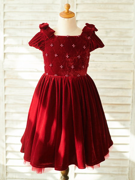 Milanoo Flower Girl Dresses Beaded Short Sleeves Square Neck Burgundy Kids Party Dresses