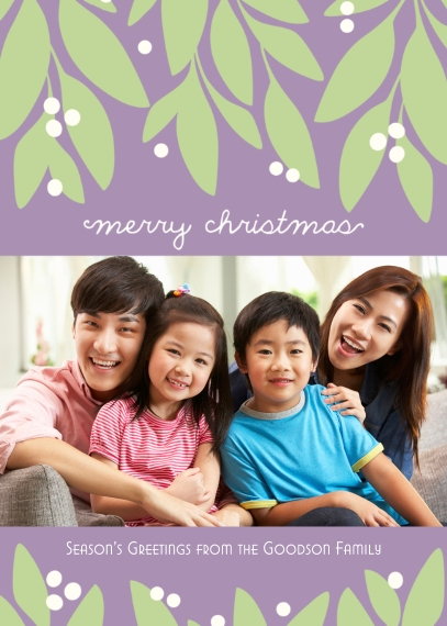Christmas Photo Cards 5x7 Cards, Premium Cardstock 120lb with Scalloped Corners, Card & Stationery -Garland Christmas