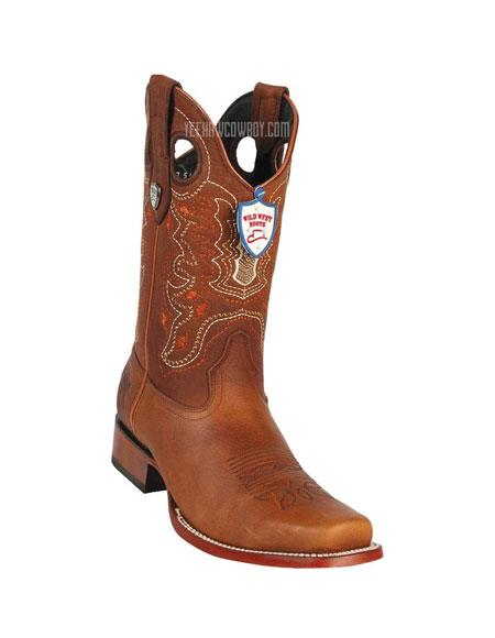 Men's Wild West Cognac Rage Cowboy Leather Square Toe Boots Handmade
