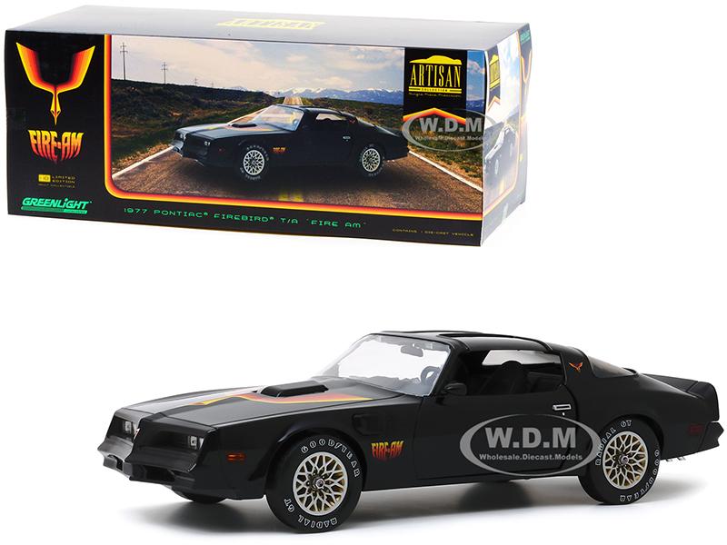1977 Pontiac Firebird Trans Am T/A Fire Am by Very Special Equipment (VSE) Black with Hood Bird 1/18 Diecast Model Car by Greenlight