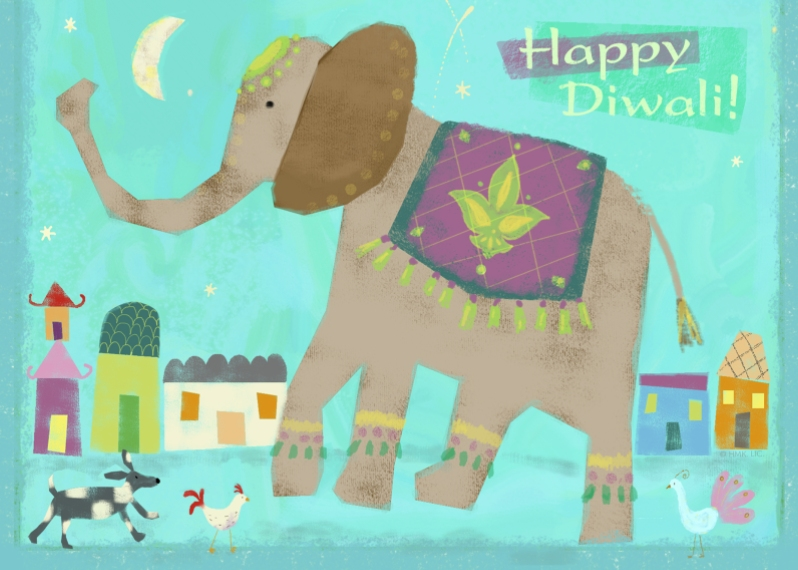 Diwali Cards 5x7 Folded Cards, Standard Cardstock 85lb, Card & Stationery -Happy Diwali Elephant