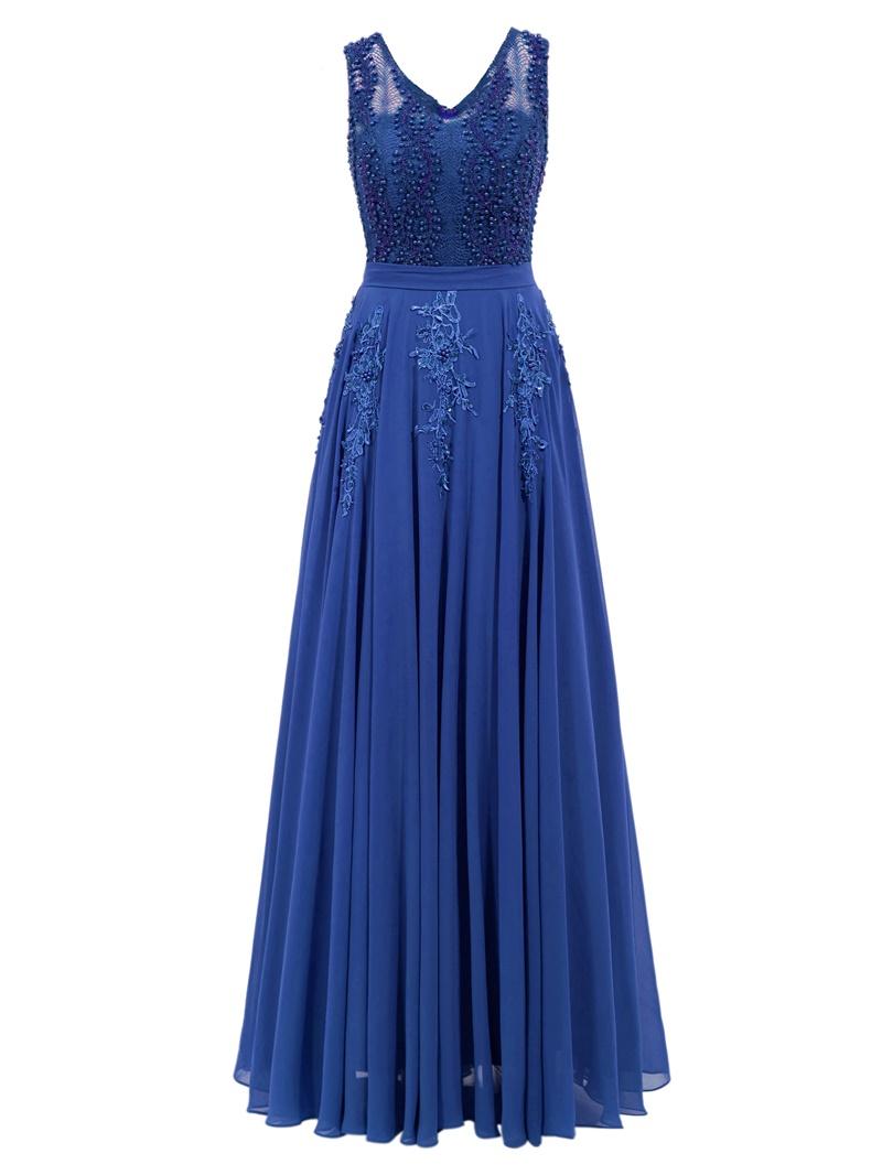 Ericdress Delicate Beaded Chiffon A Line Long Evening Dress
