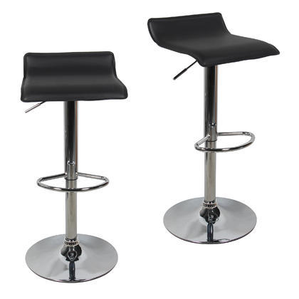 Adjustable Height Swivel Bar Stool with Black PVC Seat - Moustache® - 2/Pack