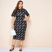 Plus All-over Letter Graphic Pencil Dress