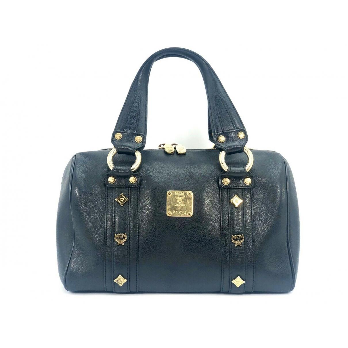 Mcm Boston Handtasche in  Schwarz Leder