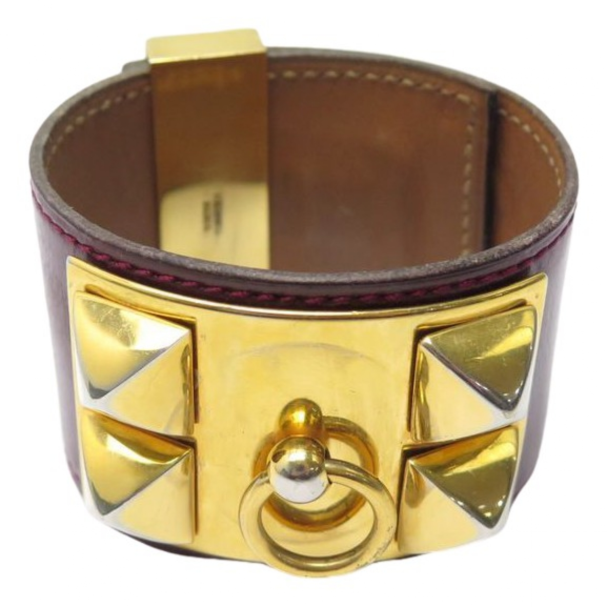 Hermes Medor Armband in  Bordeauxrot Leder