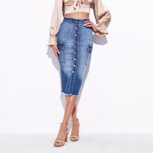 Bleach Wash Raw Hem Button Fly Denim Skirt