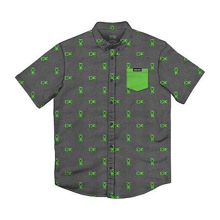 Little & Big Boys Short Sleeve Minecraft Button-Down Shirt, Large (14-16) , Gray