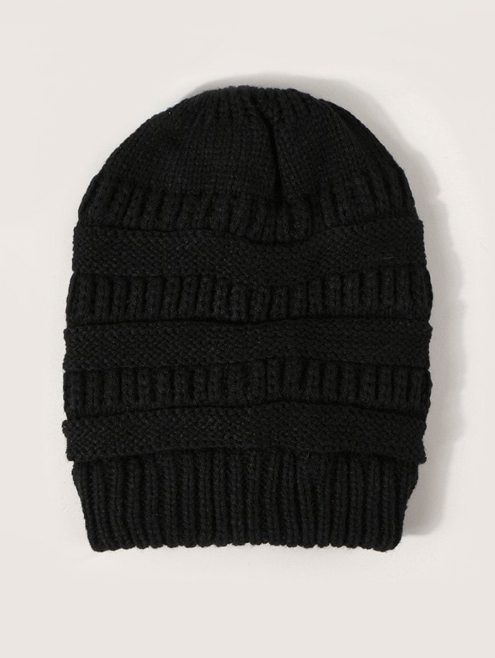 Winter Solid Ribbed Knitted Hat
