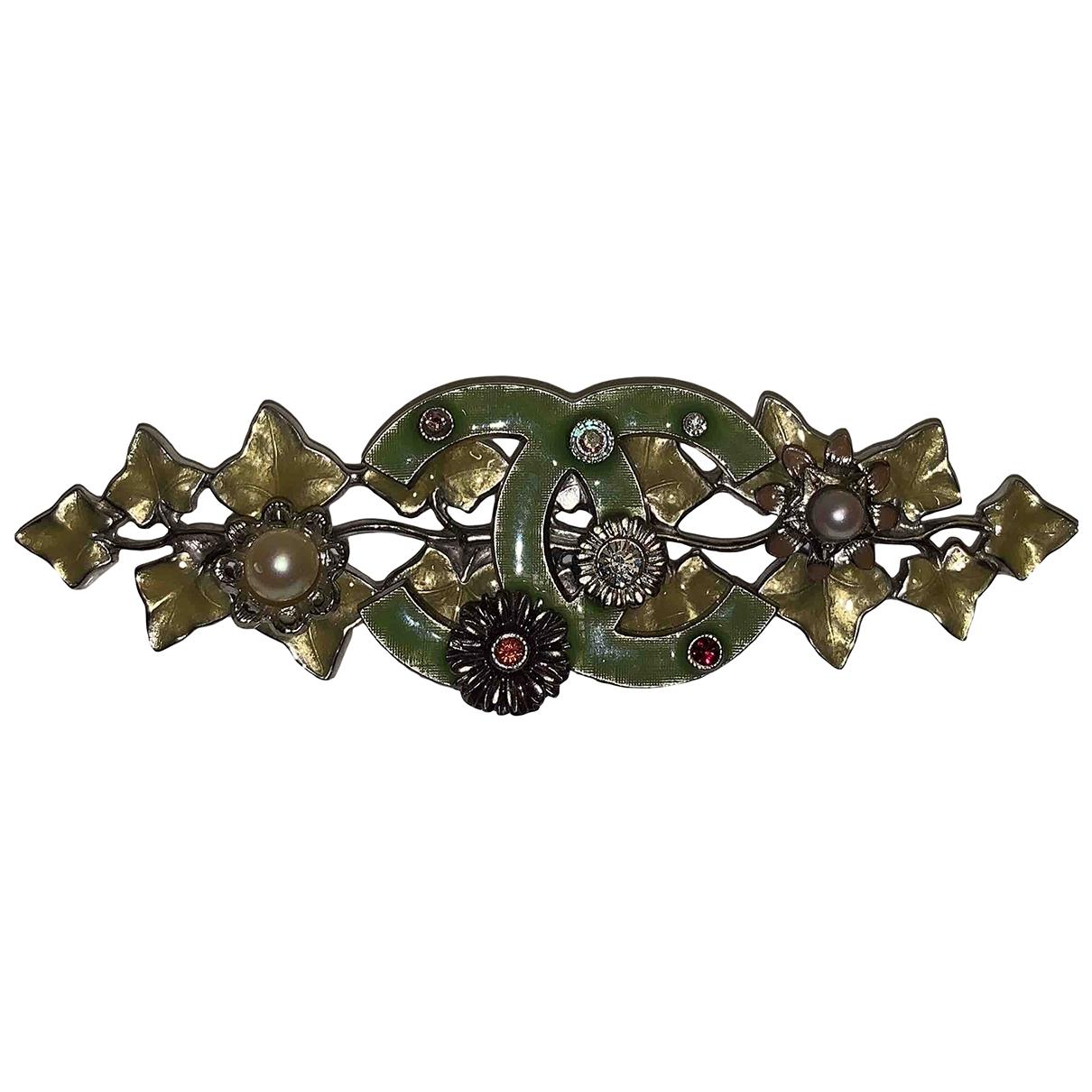 Broche CC en Metal Verde Chanel